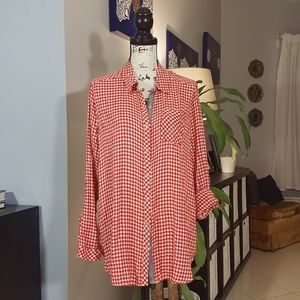 Lucky Brand Shirt size XL red white checkered